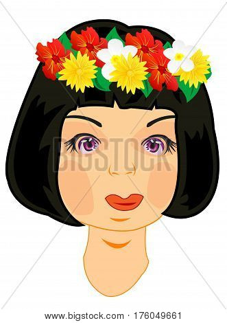 Making look younger beautiful girl with vein from flower on head