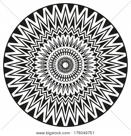 Ancient sign symmetric mandala. Can be used to print on clothing, invitations, greeting cards.