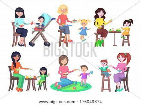 Mothers feeding their children icons set on white. Young female careful people sitting on stools or carpet try to give healthy food for kids. Vector poster of difficult process of having meal