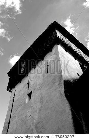 Old fortified medieval saxon church in the village Viscri, Transylvania, Romania.