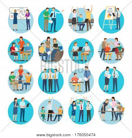 Office teamworking process vector collection on white. Typical day in office, planning, discussing, making diagrams, presenting ideas and charts, consulting, winning and celebrating round pictures