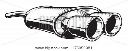 Isolated monochrome illustration of car exhaust pipe on white background