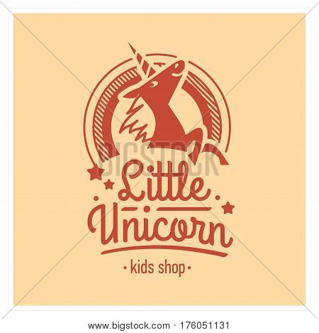 Kids shop logo with pink unicorn. Baby, child company goods, toys shop, store, language school. Unicorn icon, animal character. Kindergarten badge