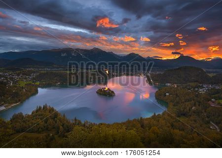Beautiful view of the famous mountain Bled lake at sunrise from above in Slovenia Europe.