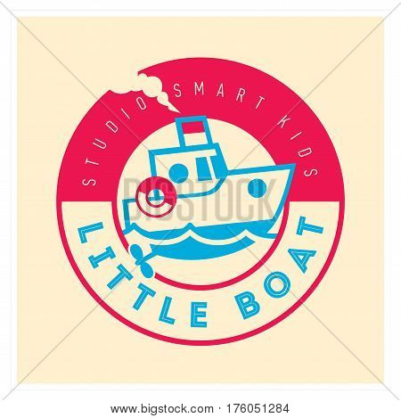 Kids club logo with little boat. Baby, child company goods, toys shop, store, language school. Ship icon, animal character. Kindergarten badge