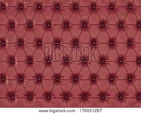 vinous leather background with buttons. 3d rendering