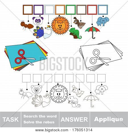 Vector rebus game for preschool kids with easy educational game level for kid education during gaming, find solution and write the hidden word in grid cells - Applique.