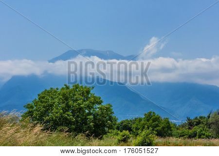 Beautiful view from Mount Olympus and the national Park around