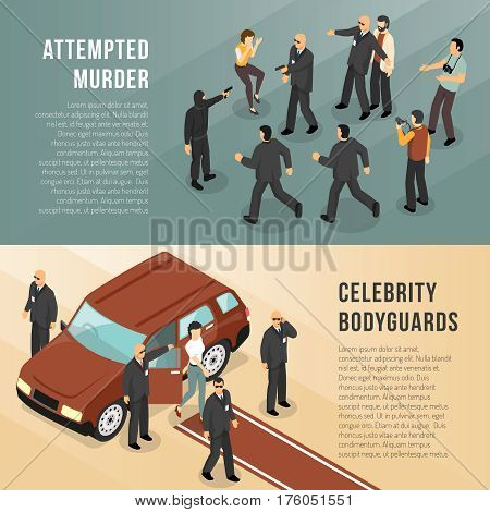 Celebrity bodyguards in action 2 isometric informative  banners with red carpet and shooting scene isolated vector illustration