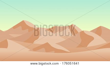 Desert landscape background. with sand dunes. Horizontally seamless can be used in game asset. Vector Illustration