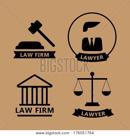 Law and justice thin line logo set