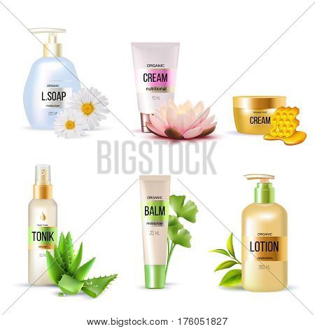 Set of organic cosmetics including cream balm soap tonic lotion with plants and honey isolated vector illustration