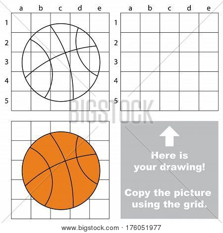 Copy the picture using grid lines, the simple educational game for preschool children education with easy game level, the kid drawing game with Basketball Ball.