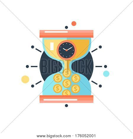 Time is money conceptual metaphor hourglass with clockcnverting trickling sand in coins  abstract ector illustration