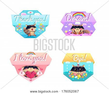Funny raccoon cartoon character 4 icons composition with love and thank you message colorful background isolated vector illustration