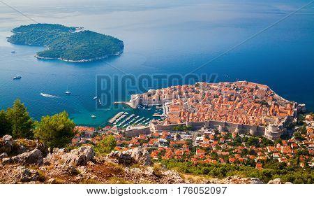 beautiful aerial view of Dubrovnik medieval Old town and Lokrum island South Dalmatia Croatia