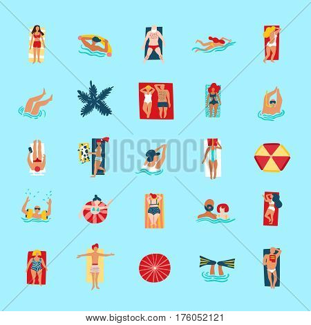 People swimming diving bathing tanning reading and checking smartphone on beach funny flat icons collection  vector illustration