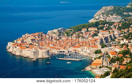 aerial view of Dubrovnik Old town (medieval Ragusa) Dalmatian coast of Adriatic sea Croatia
