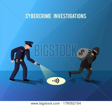 Computer internet hightech crime investigation cyber attacks and misuse of data prevention flat dark blue poster vector illustration
