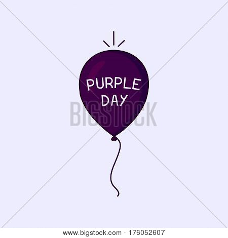 Purple Day epilepsy awareness poster with a floating air balloon in the sky. Medical solidarity day. Vector illustration.