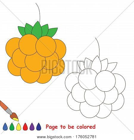 Educational worksheet to be colored by sample. Easy educational paint game for preschool kids. Simple kid coloring page with Cloudberry