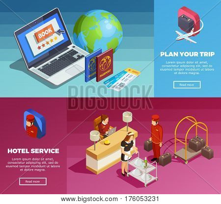 Online trip planning hotel booking service 2 isometric banners webpage design with earth globe passports tickets vector illustration