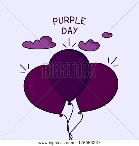 Purple Day epilepsy awareness poster with floating air balloons in the sky. Medical solidarity day. Vector illustration.