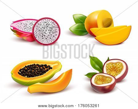 Realistic tropical fruits isolated images set with dragon fruit passionfruit papaya and mango cut in slices vector illustration