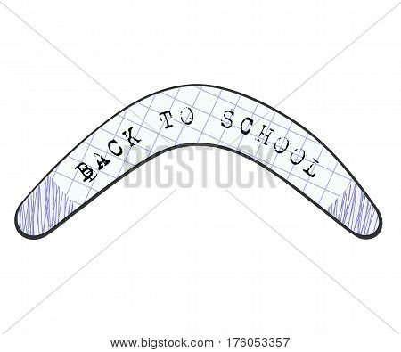 Children's drawing Australian boomerang Abstract image with the text. Back to school. Concept back to school in September. Stock vector illustration