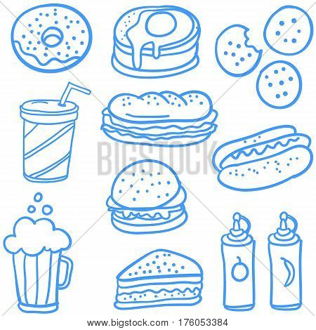 Doodle of food element vector art collection stock