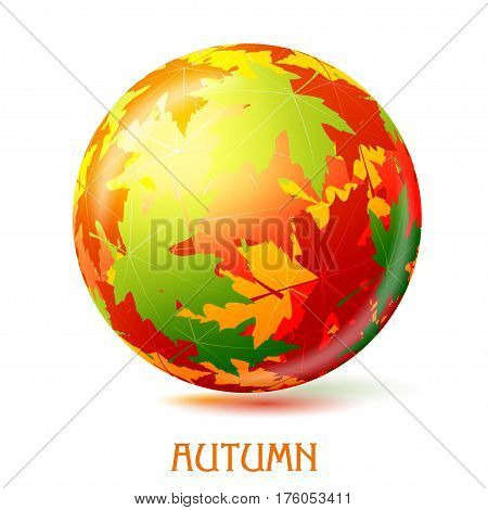 Colorful abstract vector ball with autumn maple leaves. Element of decor the design of the site. Symbol of autumn seasonal changes. Stock vector illustration