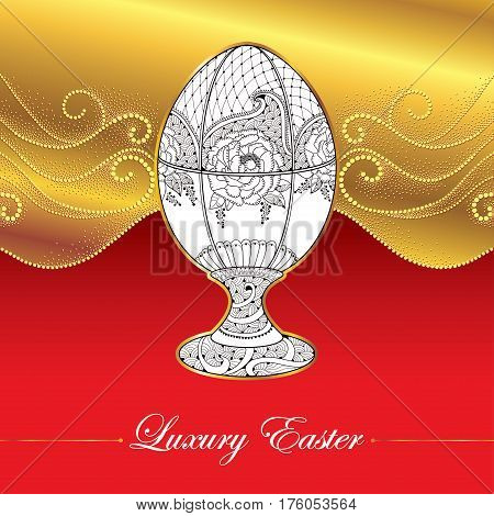 Vectpr greeting card with Faberge egg in floral motifs on the gold background with dotted curls. Series jewelry in contour style. Luxury background for Easter with ornate egg.