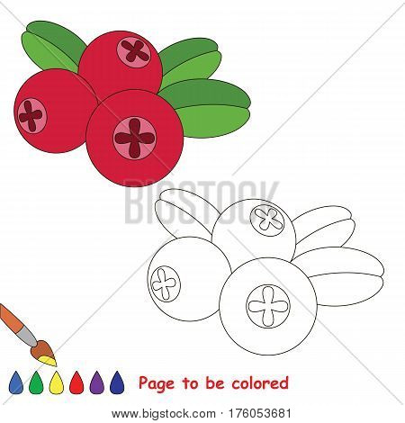 Educational worksheet to be colored by sample. Easy educational paint game for preschool kids. Simple kid coloring page with Cowberry.