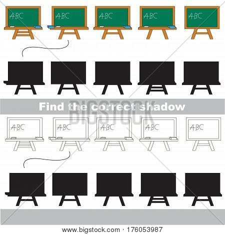 Green Board set with shadows to find the correct one. Game to compare and connect objects and their true shadows, the educational kid gaming, logic game with simple game level for preschool children.