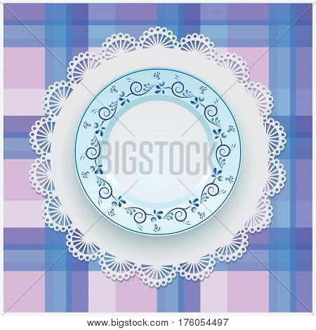 Plate. Ornament Gzhel. White porcelain with blue pattern round the border. Russian style Gzhel. Lace napkin and checkered background.