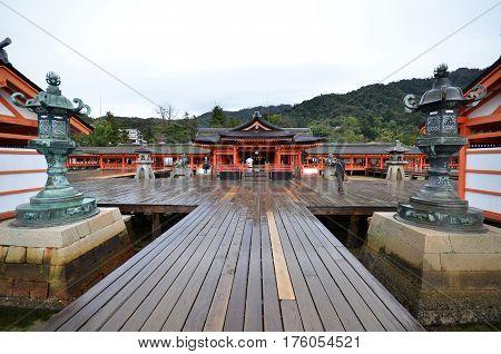 Scenic View Of Floating Itsukushima Shrine