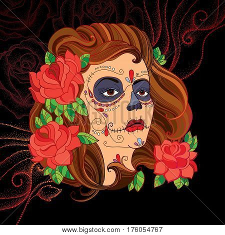 Vector illustration of woman face with Sugar skull or Calavera Catrina makeup on the black background with dotted red swirls. Design for Mexican Day of the dead or Dia de los Muertos in contour style.