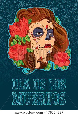 Vector illustration of woman face with Sugar skull or Calavera Catrina makeup on the turquoise background with outline roses. Design for Mexican Day of the dead or Dia de los Muertos in contour style.