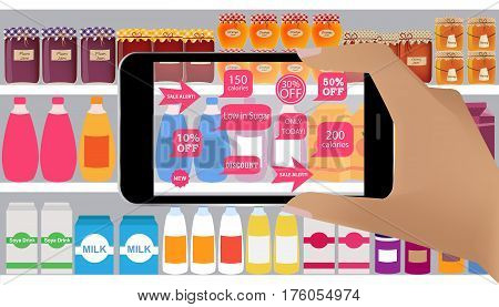 Augmented reality application for retail business concept.Augmented Reality on smartphone. Applications that scan in supermarket discount products sale alert low callories.