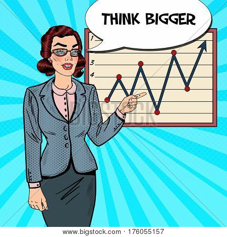 Pop Art Business Woman Pointing on Growth Graph. Business Presentation. Vector illustration