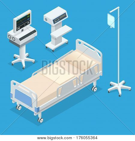 Flat 3D vector illustration Isometric interior of hospital room. Hospital room with beds and comfortable medical equipped in a modern hospital