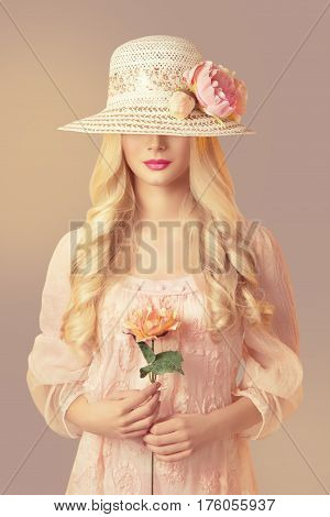 Woman in Fashion Straw Hat Holding Peony Flower Young Girl in Pink Dress Long Curly Hair Unrecognizable Face