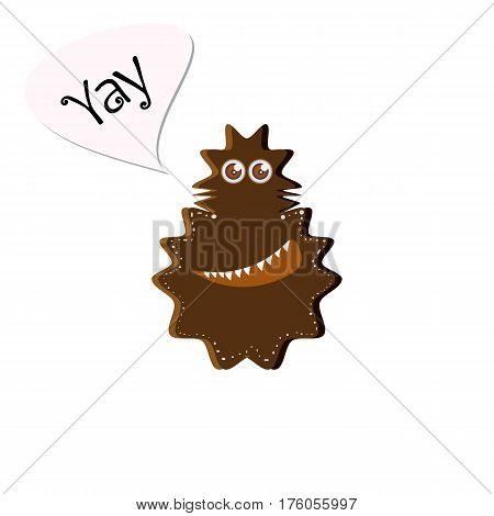 Happy smiling brown monster in a cartoon style. Fictional character for your design needs. Vector illustration isolated on white background