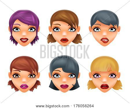 Girls stylish woman lips slightly open mouth 3d realistic isolated fashion mockup set transparent background design vector illustration