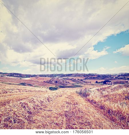 Mown Wheat Field on the Hill in Sicily Italy Instagram Effect