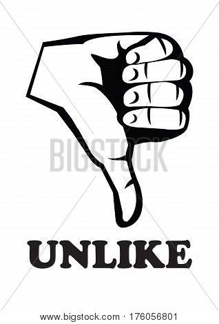 Human hand in rude thumbs down gesture with text unlike in black and white. Vector illustration