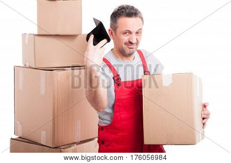 Mover Guy Holding Box And Throwing His Empty Wallet