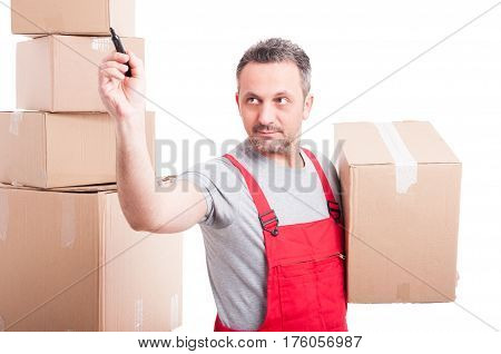 Mover Guy Holding Box And Drawing On Invisible Board