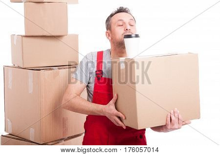 Mover Man Holding Box And Coffee Cup On Top