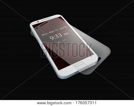 Screen protector film or glass cover isolated on balck background. Mobile accessory. 3d illustration